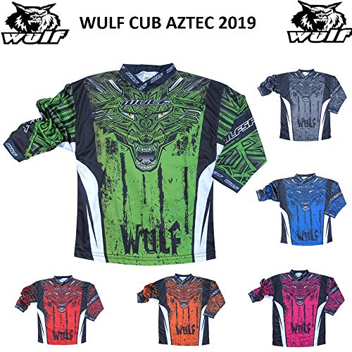 Wulfsport Aztec 2019 Kinder Shirt Motorrad Motocross ATV Quad MX Racing Sport Junior Bekleidung Bike Shirt Fur Kinder (3-13 Jahre, Mehrere Farben) (Grun,8-10) (Racing Dirt Shirts Bike)
