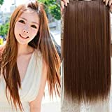¿Con una pieza Spritech? lino para mujer? ¿Recta? Extensión del pelo 5 Clips rulos, marrón claro, Wip Length:24.4