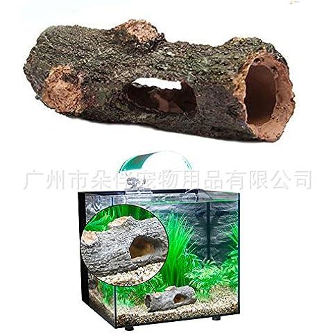 ZPP-Acuario de peces de horquilla de la resina del árbol hueco oculto fuente tortuga Fish Tank Aquarium adorno ornamento de