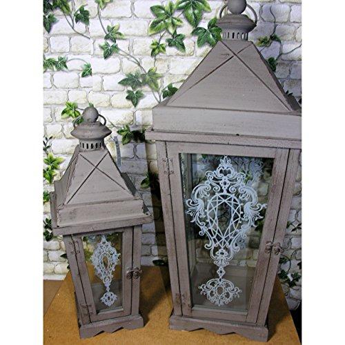 Beo Holz-Laternen-Set 65+46 cm hoch Shabby Chic Taupe Ornamente Glas Vintage Landhaus Antik Stil