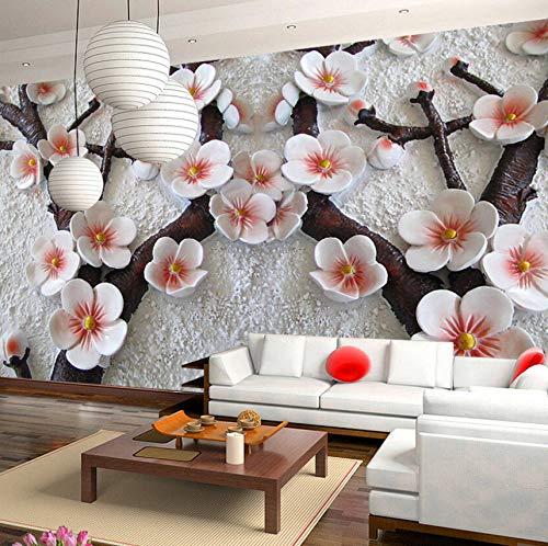 VVNASD 3D Aufkleber Wand Wandbilder Tapete Dekorationen Moderne Kunst Stereo Relief Pflaume Blume Wohnzimmer Kunst Kinder Schlafzimmer (W) 300X(H) 210Cm -