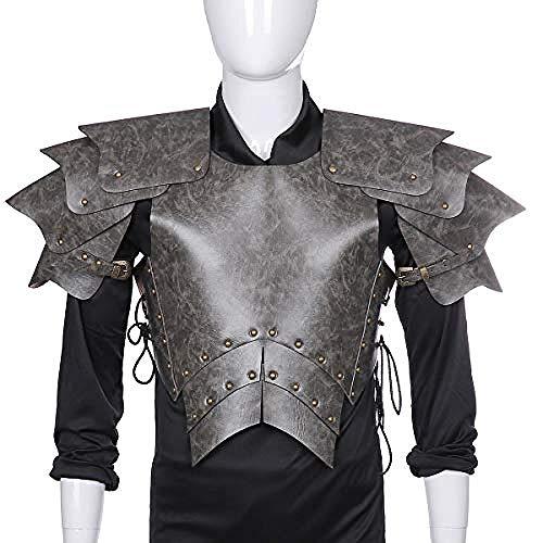 Lxdzgm Halloween Karneval Erwachsene Männer PU Leder Mittelalter Samurai Cosplay Rüstung (Farbe: Schwarz) (Machen Phantom Der Oper Kostüm)