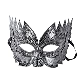 Eizur Rétro Mascarade Masque Roman Gladiateur Mask pour Halloween Partie Fantaisie Dress Cosplay Costume Props Carnaval Ball--Argent