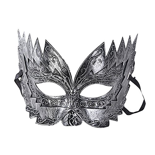 Eizur Retro Maskerade Maske Nachahmung Metall Römisch Gladiator Halbe Gesichtsmaske für Halloween Party Karneval Kostüm Cosplay Requisiten Fasching Party Verrücktes Kleid Ball--Silber (Silber Werwolf Kostüme)
