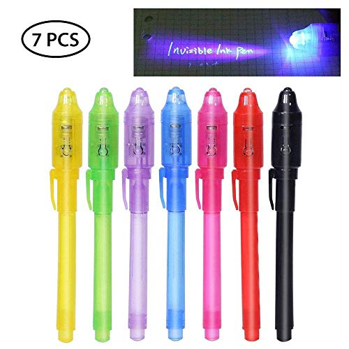 Decals Prime UV Light Pen, Colorful Invisible Disappearing Ink Pen Marker Secret Spy Message Writer with UV Light Fun Activity for Kids Party Favors Ideas Gifts(7Pack)