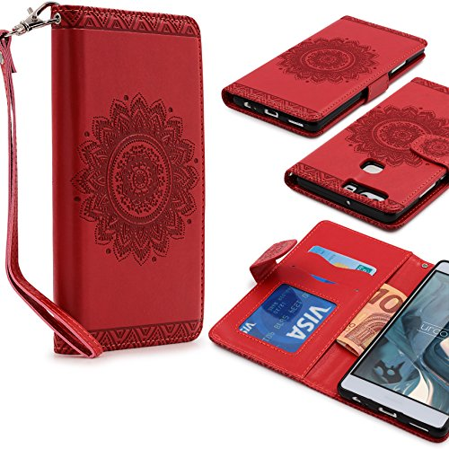 Urcover lotus pattern case wallet   custodia huawei p9 plus   flip cover ecopelle in rosso   bumper protettiva portafoglio slot card trend elegante tribal mandala acchiappasogni