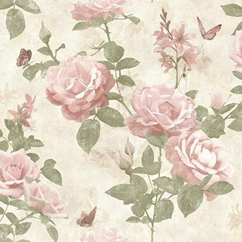 Weinlese-Rosen-Blumen-Tapete Erröten Rosa Creme-Gewebe-Effekt-Schicke Blumen -