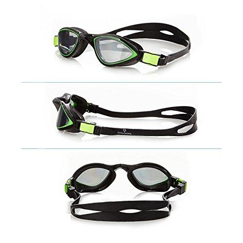 #DoYourSwimming Schwimmbrille | Chlorbrille / 100% UV-Schutz + Antibeschlag + Transporttasche/Starkes Silikonband mit Perfekter Passform »Predator« grün