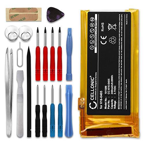 Cellonic® Qualitäts Akku kompatibel mit Apple iPod Nano 4 Gen. A1285 inkl. Werkzeug-Set (240mAh) 616-0405,616-0407,P11G73-01-S01 Ersatzakku Batterie 4. Gen Ipod Nano