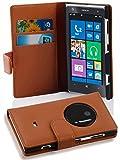 Cadorabo Hülle für Nokia Lumia 1020 - Hülle in COGNAC BRAUN – Handyhülle mit Kartenfach aus struktriertem Kunstleder - Case Cover Schutzhülle Etui Tasche Book Klapp Style
