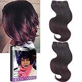 Emmet brasilianische Haar-Verlängerung Ombre Farben-Jungfrau-Haar Körper-Wellen-Haar Einfache Installation u. Nähen 8Inch kurze Größe 100% Menschenhaar-Webart 2Bundle /Los 50g/Bundle (1B/99J#)