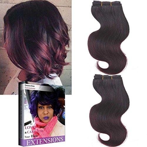 Körper-wellen-brasilianische - Haar (Emmet brasilianische Haar-Verlängerung Ombre Farben-Jungfrau-Haar Körper-Wellen-Haar Einfache Installation u. Nähen 8Inch kurze Größe 100% Menschenhaar-Webart 2Bundle /Los 50g/Bundle (1B/99J#))