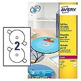 Avery Full Face CD/DVD Label - Etichette per CD, 50 unità, 25 fogli x 2, colore: Bianco lucido