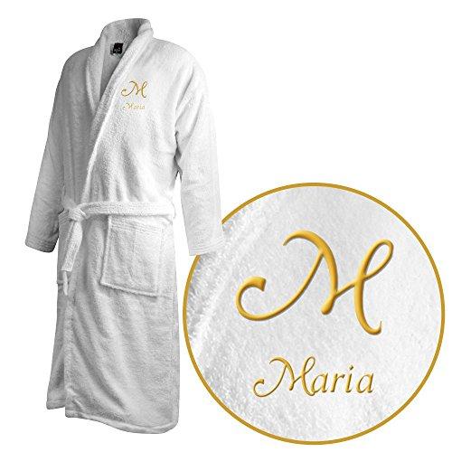 Bademantel mit Namen Maria bestickt - Initialien und Name als Monogramm-Stick - Größe wählen White