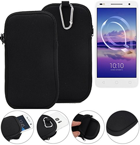 K-S-Trade Neopren Hülle für Alcatel U5 HD Dual SIM Schutzhülle Neoprenhülle Sleeve Handyhülle Schutz Hülle Handy Gürtel Tasche Case Handytasche schwarz