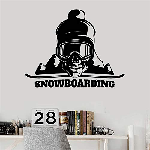 zqyjhkou Rushed Für Wand Cartoon Wandaufkleber Vinyl Wandtattoo Snowboard Schädel Sport Aufkleber Design Leben Abenteuer Decor D421 58 X 74 cm