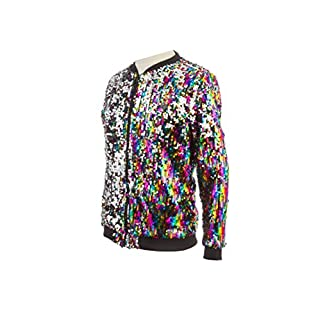 ASVP Shop Sparkle Sequin Long Sleeve Zipper Front Lightweight Bomber Jacket (Rainbow, Large)