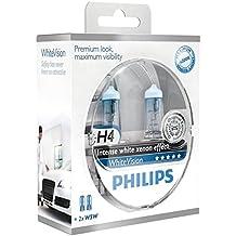Philips WhiteVision Effetto Xenon H4 Lampada Fari 12342WHVSM, Confezione Doppia