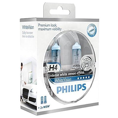 Philips WhiteVision Xenon Effect H4 Headlight Bulb 12342WHVSM, Twin Pack - Honda Accord Wagon Tipo