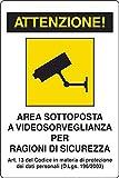 Carteles de plástico de videovigilancia en Italiano