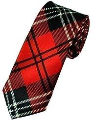 Sock Snob - Cravate Habillée Unisexe Mince Carreaux Ecossais de Luxe Mariage
