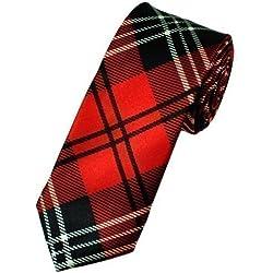 Traje de corbata de lujo Unisex estrecho de tartán escocés