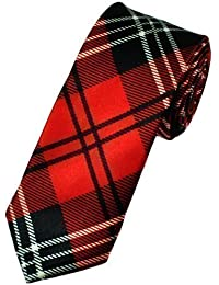 Luxury Scottish Wedding Unisex Skinny dress tie Red Tartan
