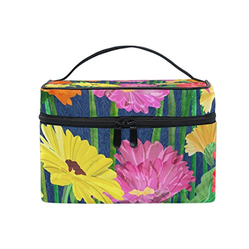 COOSUN Gerber Daisy Cosmetic Bag Canvas Travel Kulturbeutel Top Single Layer Make-up-Beutel-Organisator Multi-Funktions-kosmetischer Fall Griff für Groß Mehrfarbig -