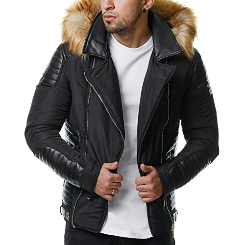 Burocs Herren Winter-Jacke Kunstleder Gesteppt Zipper Fell-Kapuze BR1620 Schwarz