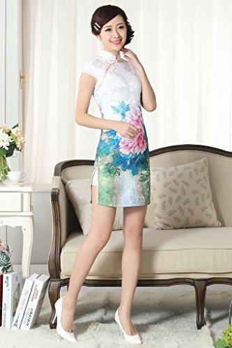 Bigood Qipao Traditionnel Femme Robe Fendue Latéral Cheongsam Fleur Style A
