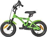 PROMETHEUS Kinderfahrrad 12 Zoll Jungen in Grün & Schwarz mit Stützrädern | Seitenzugbremse und Rücktrittbremse | ab 3 Jahren | 12