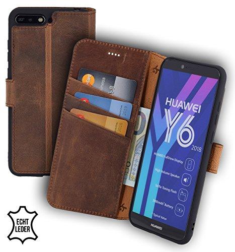 Suncase Huawei Y6 (2018) Book-Style (Slim-Fit) Ledertasche Leder Tasche Handytasche Schutzhülle Case Hülle (mit Standfunktion und Kartenfach - Bruchfester Innenschale) antik Coffee