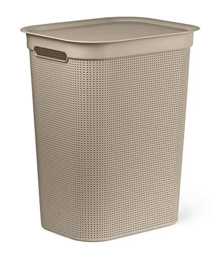 Rotho Brisen Wäschesammler mit Deckel 50 l, Kunststoff (PP), Cappuccino, 50 Liter (43 x 34 x 53 cm)