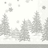 20Servilletas Navidad árboles Plata Tress in a row Invierno Bosque 33x 33cm