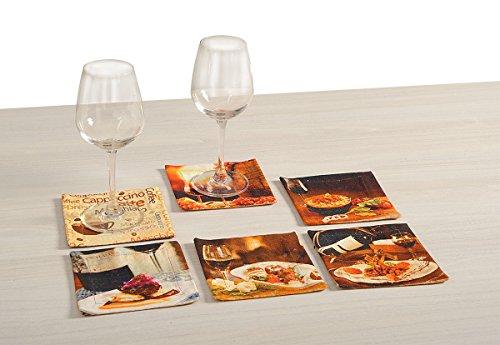 Yuga Foods Theme Printed 100% Baumwolle Mehrfarben Untersetzer Drink Pad-Set von 6 Stueck