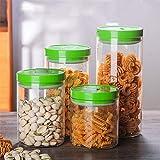 Glaslagerbehälter verschlossene Dosen, Küchen-Multi-Korn-Lagerboxen, Snack-Lagerbehälter, Milchpulverdosen (4 Stück)