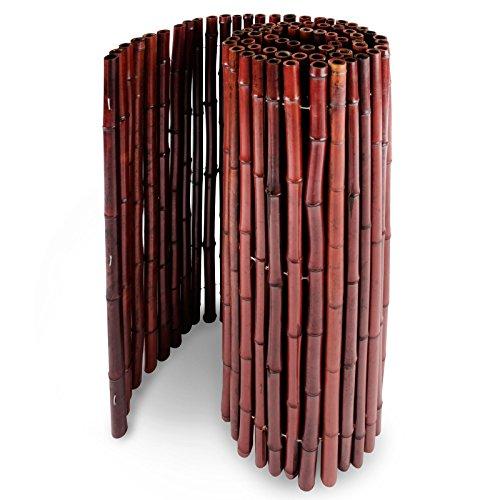casa pura® Bambus Sichtschutz | Bambusmatte in Premiumqualität, Massive Bambusrohre | rot | DREI Größen (100x250cm, HxB)