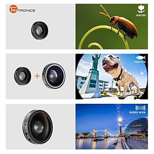 TaoTronics Fisheye Fischauge Objektiv Handy Objektiv Set Clip On Kamera Adapter (180 Grad Fisheye Objektiv, 10x Macro Objektiv, 0,4x Weitwinkelobjektive)