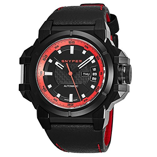 Snyper Men's 48mm Black Leather Band Steel Case Automatic Watch 20.255.00