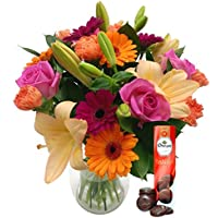 Clare Florist Fresh Flowers Carnival Bouquet with Free Chocolates, Multi-Coloured