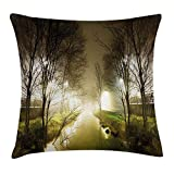 Forest Throw Pillow Cushion Cover, Water Channel Foggy Weather Trees Grass City Street at Winter Night Mystery, Decorative Square Accent Pillow Case, 18 X 18 inches, White Green Brown