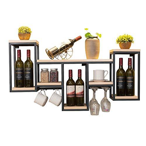 WCS Casier à vin européen Armoire à vin Tenture Murale en Fer forgé Bois Casier à vin Restaurant Accueil Casier à vin Stockage créatif Panier à vin en Verre Étagères flottantes (Color : Wood Color)