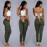 JaneDream Leisure More Than Women's Lace Bag Trousers Pocket Drawstring Waist Slim Pencil Jeans Pants Trousers XL-Green