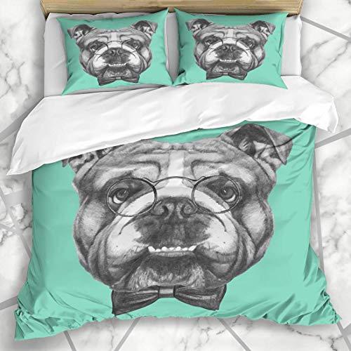 Soefipok Bettbezug-Sets Tattoo Dog English Bulldog Brille Drawn Retro Bow Boy Mikrofaser Bettwäsche mit 2 Kissenbezügen