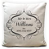 Mr and Mrs Personalised Wedding Cushion Cover Anniversary Gift 16 Inches 40cm
