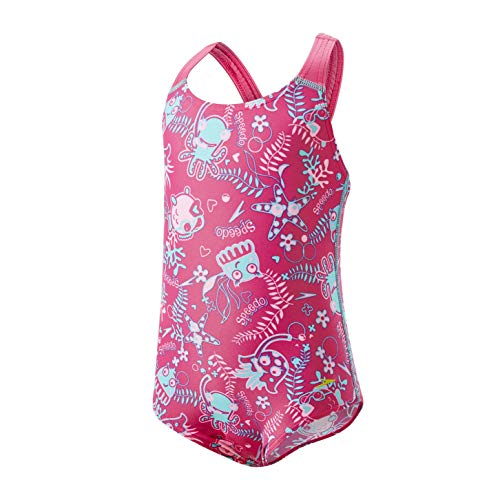 Speedo Seasquad Allover 1 Piece, Costume Bimba 0-24, Rosa (Vegas Pink Splash/Bali Blue), 6-9 Mesi