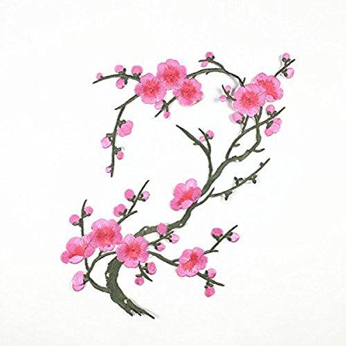 WINOMO Plum Blossom Blume Applique Eisen auf annähen gestickt Patch Aufkleber Pink