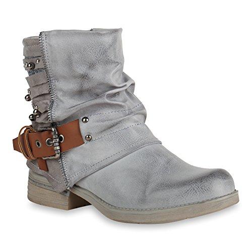 Damen Biker Boots Glitzer Stiefeletten Bikerstiefel Nieten Schuhe 155082 Grau 41 Flandell