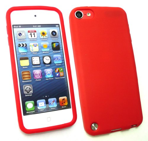 Emartbuy ® Apple Ipod Touch 5 (5. Gen Oktober 2012 Release) Lcd Screen Protector Und Silicon Skin Cover / Case Red