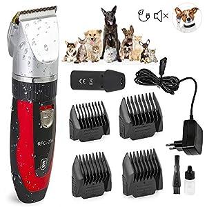 Ceramics RFC-208 Haustier Grooming Kit Leiser und Geräuscharmer Tierhaarschneider mit Turbo-Sense-Technology und 4 Aufsätze für 25 Schnittlängen, Drahtlose Wiederaufladbare Tierhaarschneidemaschine, Trimmer Rasierer für Hund und Katze Clipper